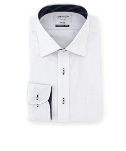 スーパーノンアイロンストレッチ 白 ワイドカラーシャツ 織柄 切替紺チェック