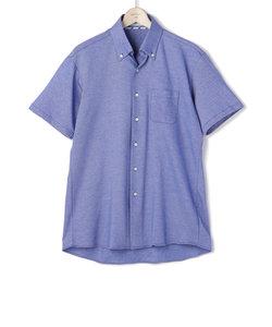 カルゼ無地 スキッパーボタンダウン 前空き 半袖ビズポロシャツ