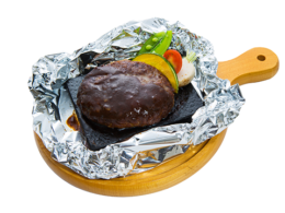Stone-cooked hamburger steak of recommended menu Japanese black beef