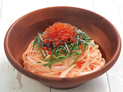 Super delicious pasta Hakata Mentaiko and salmon roe, cuttlefish