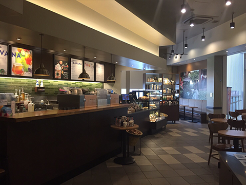STARBUCKs COFFEEs LaLaport TOYOSU o segundo andar de loja de Southport