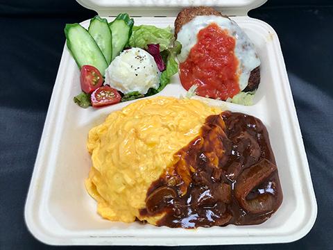 名物オムハヤシ&モッツァレラチーズトマトソースハンバーグBOX