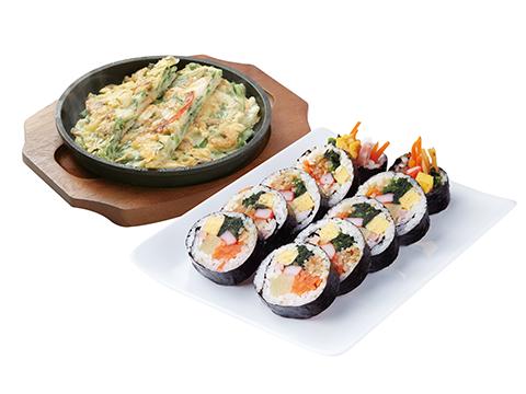 韓美膳バリューセット(海鮮チジミと7種キンパ)
