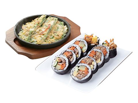 韓美膳バリューセット(海鮮チジミとプルコギキンパ)