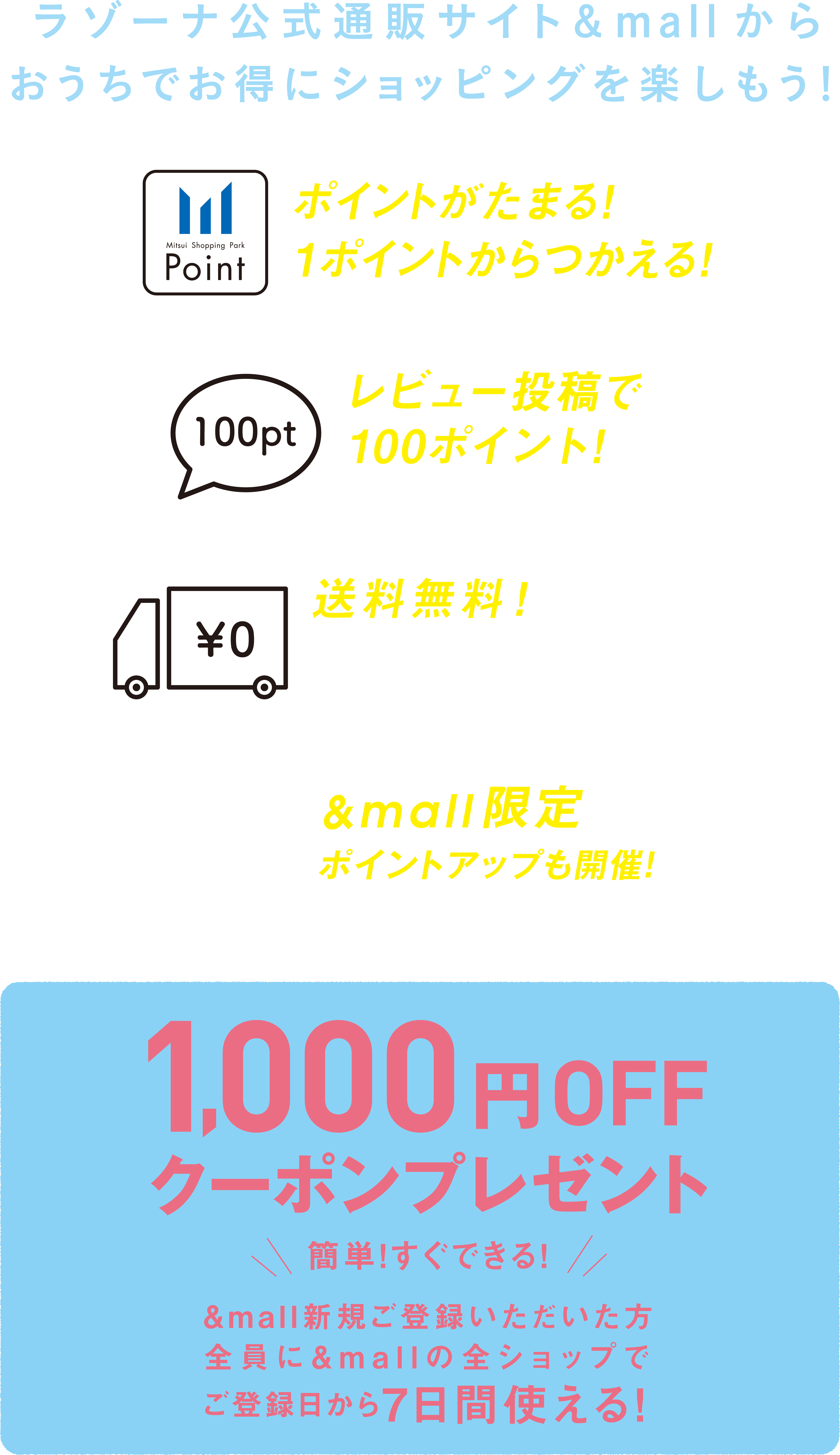 Let's enjoy shopping in discount in house from razona formula mail order site &mall. 1, the points collect! It is usable from 1 point! It is 100 points by 2, review contribution! ※In the case of the purchase, 3 is free shipping 500 yen (tax-included) or more! ※1 Shops 3,000 yen (tax-included) or more in the case of the purchase ※4, $mall-limited point up which product excluding is partly are holding! Simply! We can do it immediately! It is usable in all Shops of &mall to all the people who had &mall new fotou six for seven days from registration day! 1,000 yen OFF coupon present