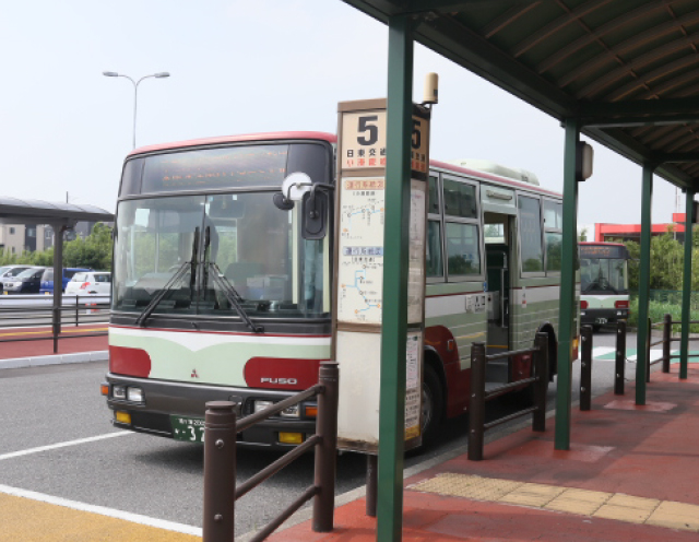 4.Board the bus for Kaneda Bus Terminal via Mitsui Outlet Park.