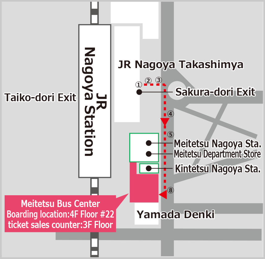 Route from Nagoya Station to Meitetsu Bus Center