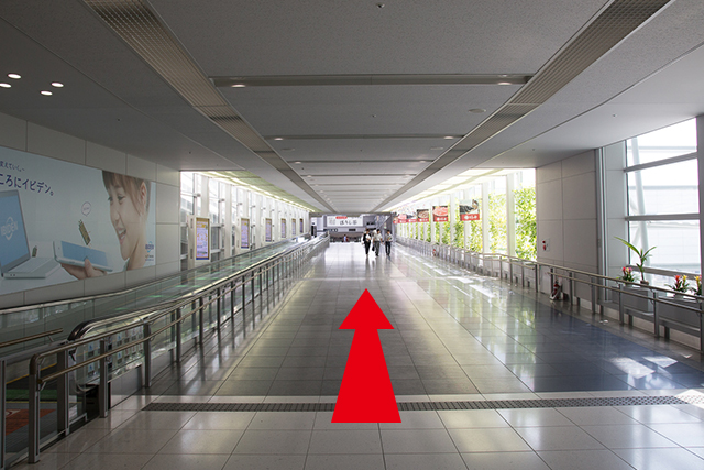 4.Continue straight and head towards the access plaza. →Go to (7)
